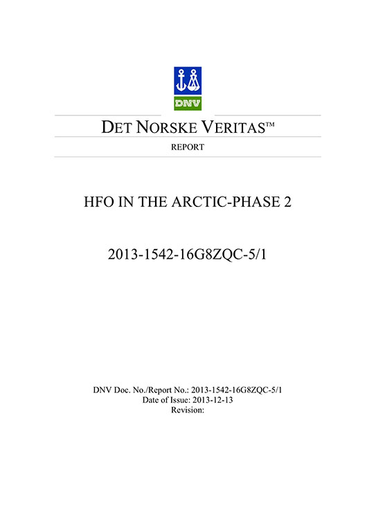 HFO in the Arctic Phase II final report by DNV signed