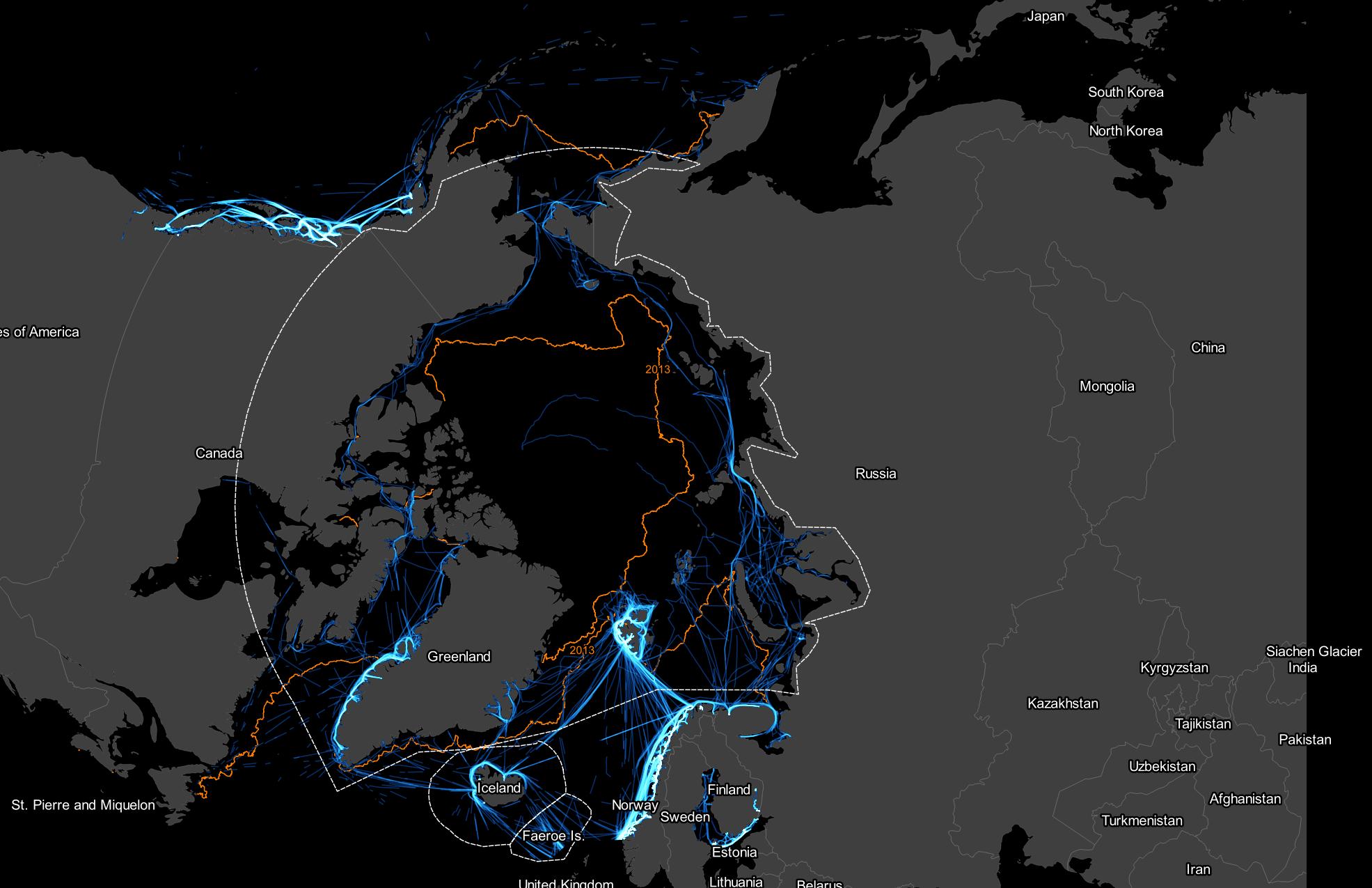 All ship tracks: 2013