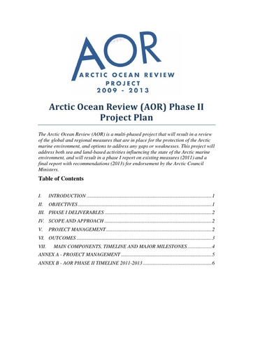 AOR Phase II Project Plan