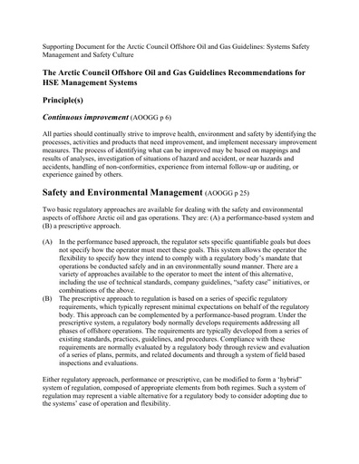 Background document - System Safety Management and Culture: Table of Recommendations for HSE Management Systems