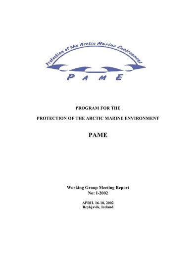 PAME I 2002 Meeting report
