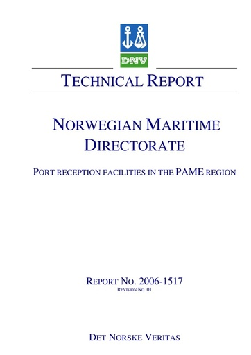 Port Reception facilities for the PAME region - Technical report