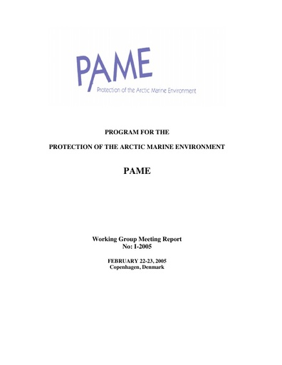 PAME I 2005 Meeting report
