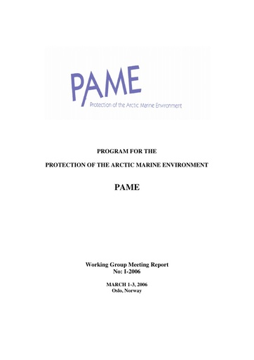 PAME I 2006 Meeting report