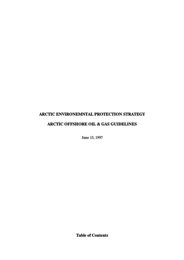 Arctic Offshore Oil and Gas Guidelines 1997