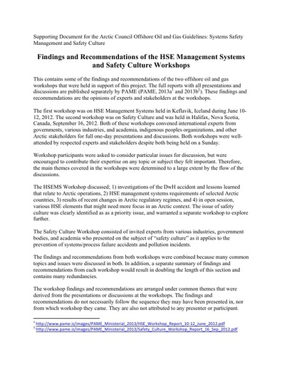 Background document - System Safety Management and Culture: Findings and Recommendations of the HSE Management Systems and Safety Culture Workshops