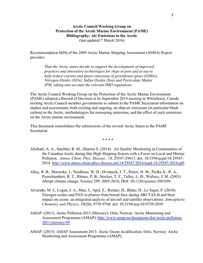 Consolidated Air Emissions Bibliography