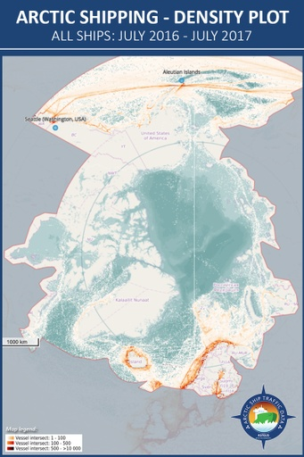 All ships in the Arctic - Density map (2016-2017)