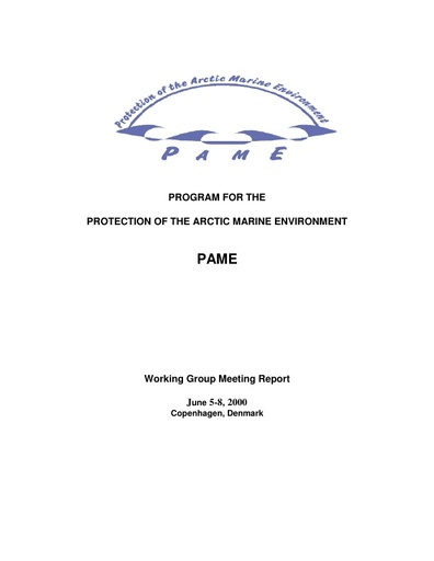 PAME I 2000 Meeting report