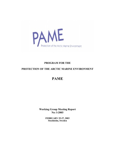 PAME I 2003 Meeting report