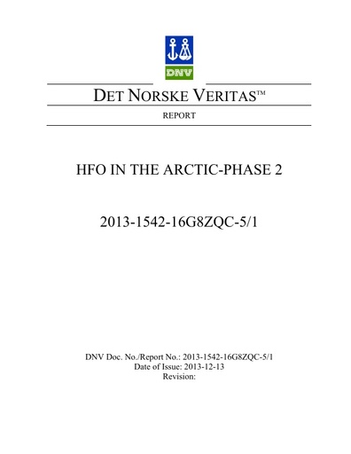 HFO in the Arctic Phase II