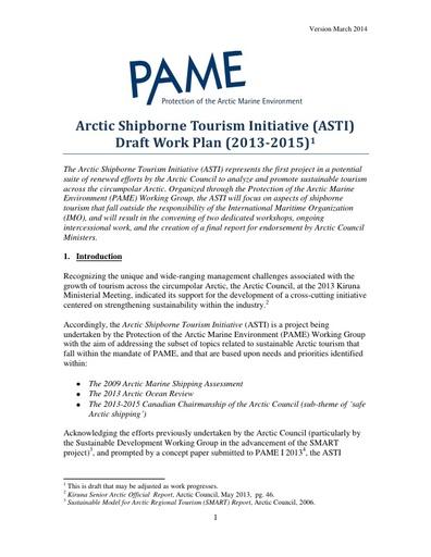 Arctic Marine Tourism Project - draft work plan