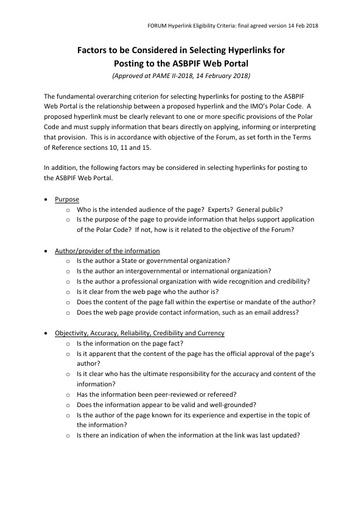 Forum Criteria for Selecting Hyperlink Factors